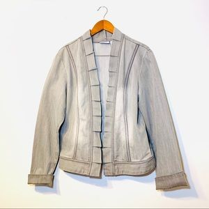 Chico's Platinum Open Pleated Open Jacket